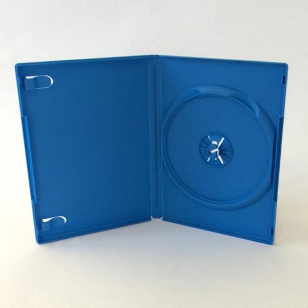 Box DVD 14 mm singolo colori, celeste, arancione o giallo, può contenere 1 disco, è macchinabile e di alta qualità.