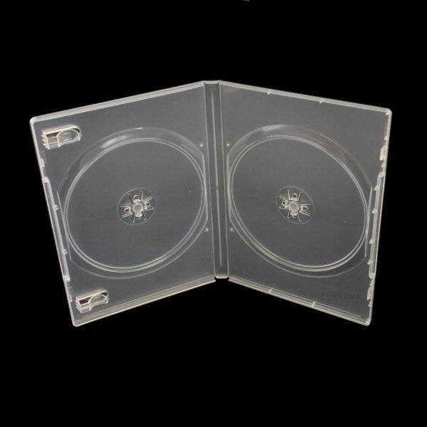 BOX DVD 14 mm doppio trasparente , macchinabile di alta qualità. E' inseribile una copertina a colori stampata fronte e retro.