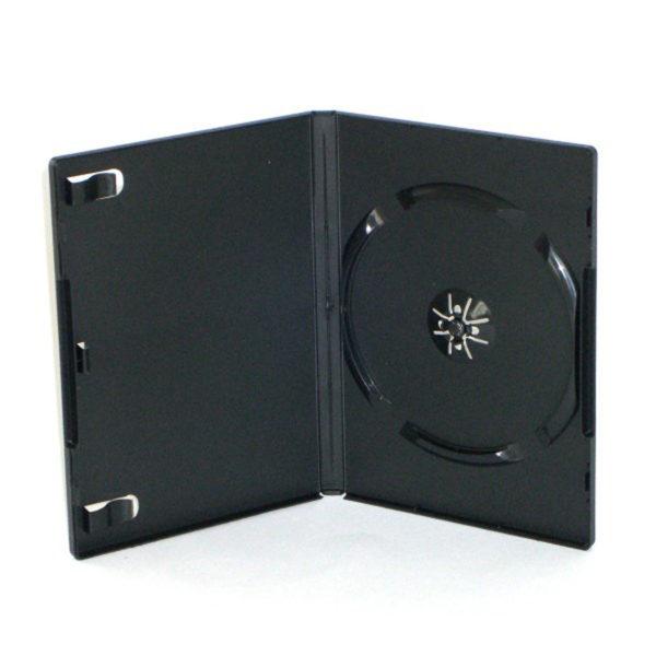 BOX DVD 14 mm SINGOLO nero, macchinabile di alta qualità. E' possibile inserire una copertina stampata a colori