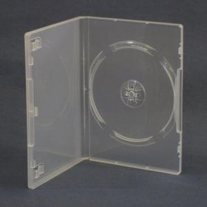 BOX DVD 14 mm singolo trasparente , macchinabile alta qualità . Usato da gallerie d'arte per il catalogo multimediale