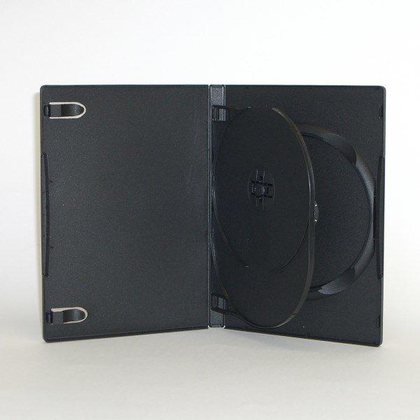 BOX DVD 14 mm nero doppio con clip, macchinabile di alta qualità. E' inseribile una copertina a colori