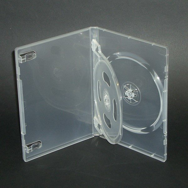 BOX DVD 14 mm trasparente doppio con clip, macchinabile di alta qualità. Inseribile copertina a colori fronte e retro.