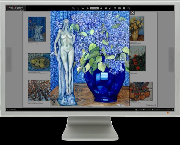 Il catalogo multimediale è un libro elettronico sfogliabile. Contiene finestre slide show e foto ingrandibili.