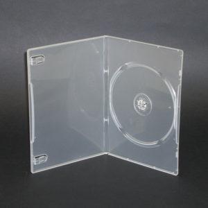 BOX DVD 7 mm singolo trasparente , macchinabile alta qualità . Usato dalle gallerie d'arte per il catalogo multimediale